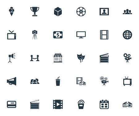 Vector Illustration Set Of Simple Film Icons. Elements Virtual Reality, Cash, Family And Other Synonyms Television, Camera And Loudspeaker.