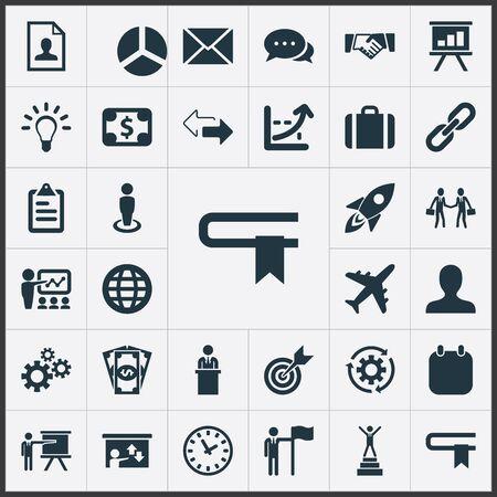벡터 일러스트 레이 션 간단한 전략 아이콘의 집합입니다. 요소 가방, 현금 지불, 창의력 및 기타 동의어 정보, 국제 및 플래그.