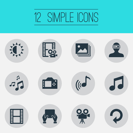 Vector Illustration Set Of Simple Multimedia Icons. Elements Filmstrip, Update, Entertainment And Other Synonyms Camera, Image And Tripod.