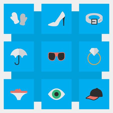 벡터 일러스트 레이 션 간단한 장비 아이콘의 집합입니다. 요소 스트랩, 파라솔, 약혼 및 기타 동의어 구두, 우산 및 스트랩.
