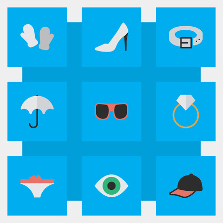 Vector Illustration Set Of Simple Equipment Icons. Elements Strap, Parasol, Engagement And Other Synonyms Shoe, Umbrella And Strap.
