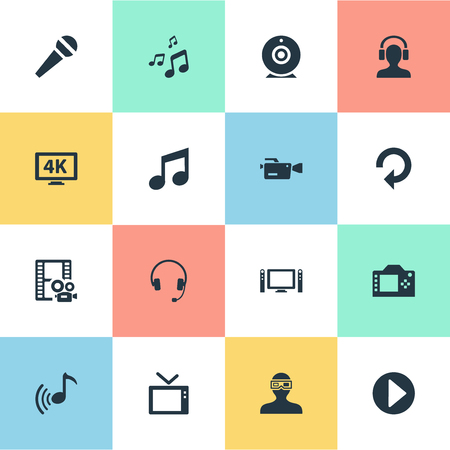 Vector Illustration Set Of Simple Multi Icons. Elements Television, Musical Note, Begin And Other Synonyms Camera, Music And Note. Çizim