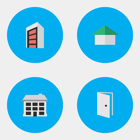 Vector Illustration Set Of Simple Real Icons. Elements Architecture, Entry, Construction And Other Synonyms House, Door And Construction.