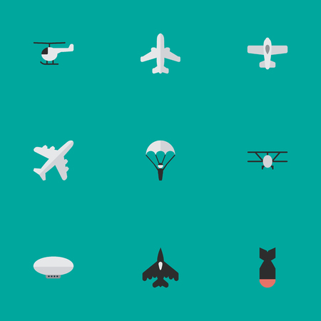 Vector Illustration Set Of Simple Airplane Icons. Elements Plane, Airliner, Balloons And Other Synonyms Chopper, Craft And Man. Illustration