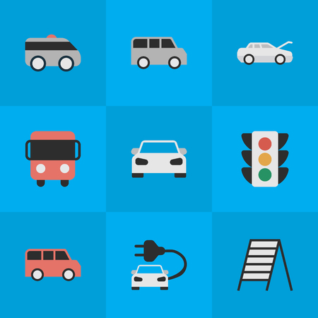 Vector Illustration Set Of Simple Traffic Icons. Elements Charge, Sport, Family And Other Synonyms Sport, Lighter And Coupe.