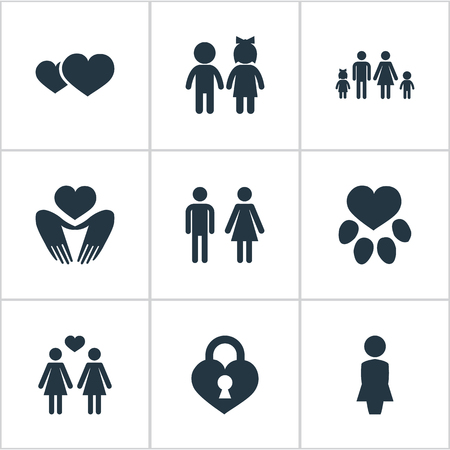 Vector Illustration Set Of Simple Feelings Icons. Elements Household, Lesbian, Romance And Other Synonyms Children, Animal And Couple.