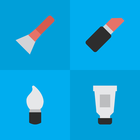 Vector Illustration Set Of Simple Fashion Icons. Elements Scrub, Pomade, Brush And Other Synonyms Toothpaste, Brush And Scrub.