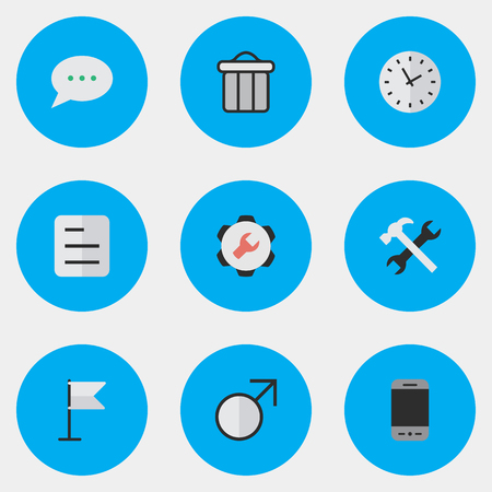Vector Illustration Set Of Simple UI Icons. Elements Message Bubble, Trashcan, Tools And Other Synonyms Bubble, Page And Document.