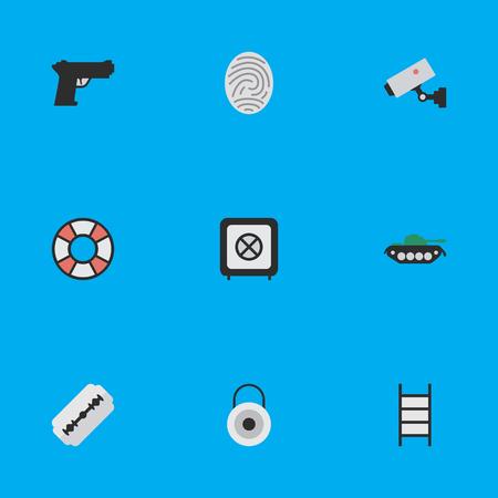 Illustrazione vettoriale Set of Simple Offense Icons. Elements Lock, Vault, Bioskyner e altri sinonimi Tank, Camera e Lifesaver. Archivio Fotografico - 82995313