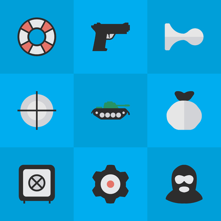 Vector Illustration Set Of Simple Offense Icons. Elements Cogwheel, Lifesaver, Criminal And Other Synonyms Cogwheel, Tank And Gun. Illustration