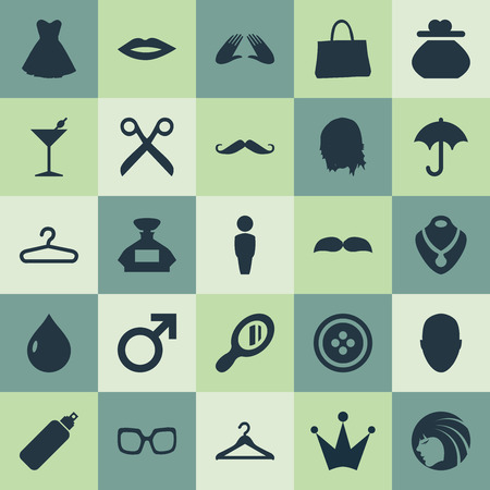 Vector Illustration Set Of Simple Elegance Icons. Elements Change Wallet, Golden Necklace, Mars Sign And Other Synonyms Male, Hair And Mustaches.