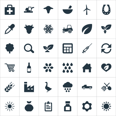 Vector Illustration Set Of Simple Agriculture Icons. Elements Horticulture Equipment, Refresh, Farm Vehicle And Other Synonyms Kit, Frost And Refresh.