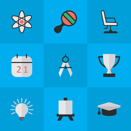 Vector Illustration Set Of Simple Education Icons. Elements Armchair, Date Block, Molecule And Other Synonyms Pong, Compass And Office. Illustration