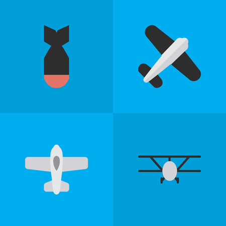 Vector Illustration Set Of Simple Airplane Icons. Elements Aviation, Rocket, Plane And Other Synonyms Rocket, Bomb And Aviation. Illustration