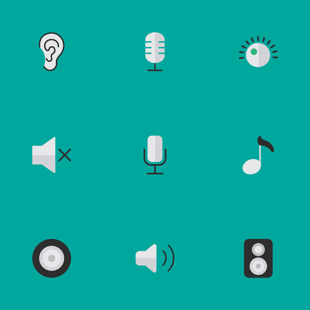 Vector Illustration Set Of Simple Music Icons. Elements Listen, Regulator, Loudness And Other Synonyms Hear, Music And Mute.