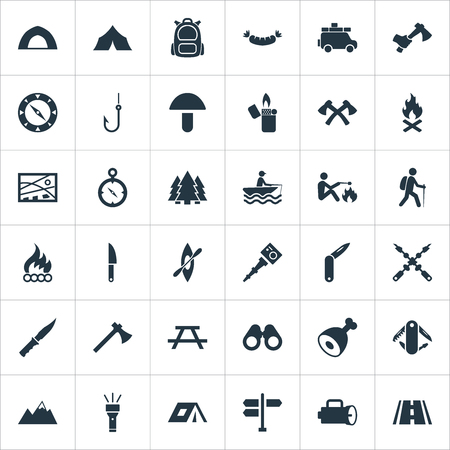 Vector Illustration Set Of Simple Camp Icons. Elements Canvas, Touristic Blade, Field Glasses And Other Synonyms Path, Penknife And Navigation.