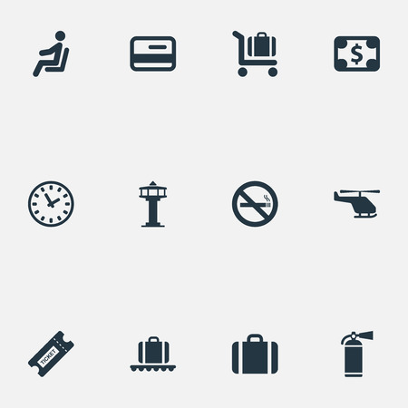 Vector Illustration Set Of Simple Transportation Icons. Elements Currency, Seat, Luggage Carousel And Other Synonyms Fly, Dollar And Card.