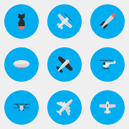 Vector Illustration Set Of Simple Plane Icons. Elements Plane, Balloons, Copter And Other Synonyms Copter, Flying And Airship.