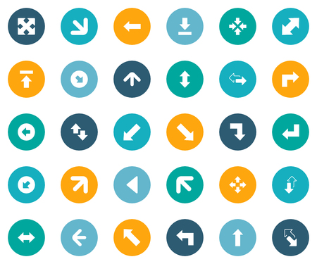 Vector Illustration Set Of Simple Indicator Icons. Elements Left Direction, Enlarge, Upward Direction And Other Synonyms Down, Down Right Pointing And Left. Illustration