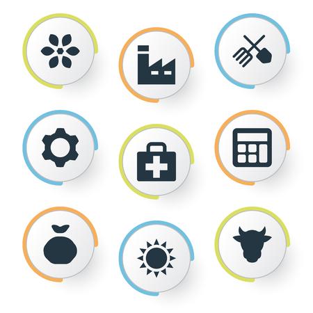 単純な収穫アイコンのベクター イラスト セット。要素の園芸機器、医療キット、熱、他の同義語サンシャイン夏とキット。