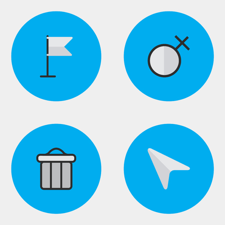Vector Illustration Set Of Simple Design Icons. Elements Pointer, Female, Banner And Other Synonyms Junk, Trash And Pointer. Illustration