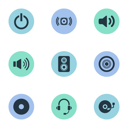 Vector Illustration Set Of Simple Play Icons. Elements Turntable, New Album, Volume And Other Synonyms Power, Headset And Disk. Illustration