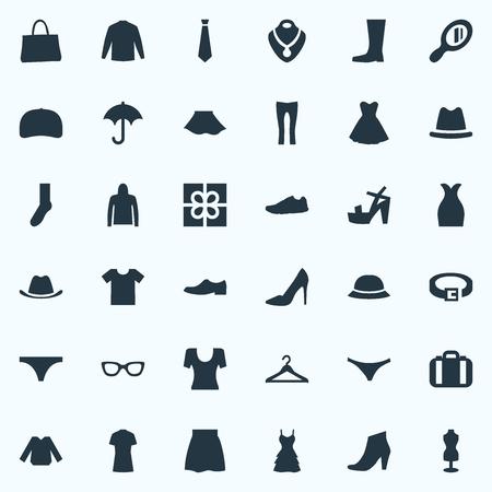 Vector illustratie Set van eenvoudige kleding pictogrammen. Elementen kleding, Casual, Bagage en andere synoniemen Sale, Sneakers en String.