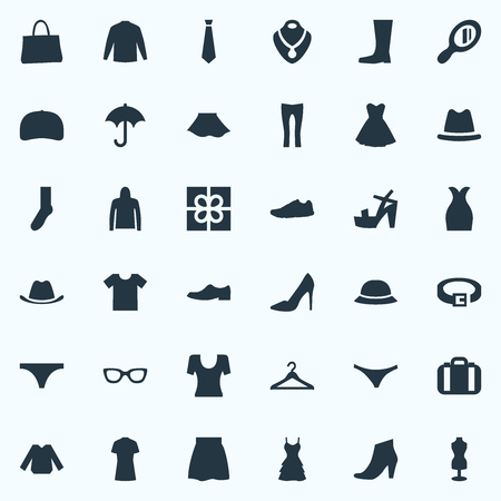 Vector Illustration Set Of Simple Clothes Icons. Elements Attire, Casual, Luggage And Other Synonyms Sale, Sneakers And String. Ilustração