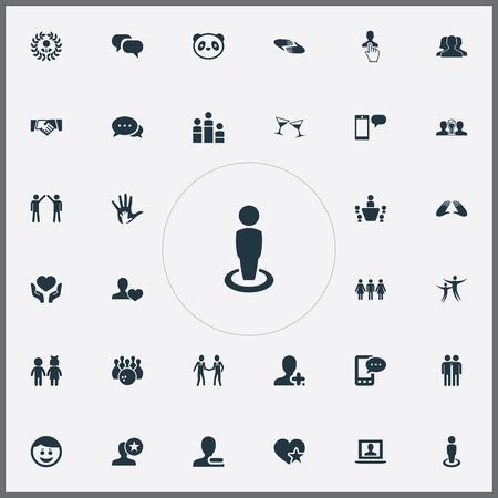 Vector illustratie Set van eenvoudige partners pictogrammen. Elementen Charity, Companion, Add Friend And Other Synoniemen Group, Merry and Conference. Stock Illustratie