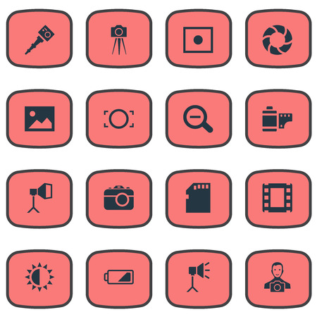 Vector Illustration Set Of Simple Photographic Icons. Elements Lens, Brilliance, Rim And Other Synonyms Photographing, Square And Man.