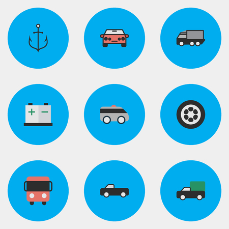 Vector Illustration Set Of Simple Transportation Icons. Elements Wheel, Accumulator, Truck And Other Synonyms View, Auto And Shed.