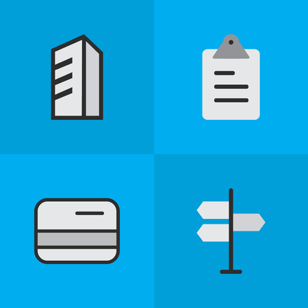 Elements Direction, Apartment, Pay And Other Synonyms Building, List And Architecture.  Vector Illustration Set Of Simple Trade Icons.