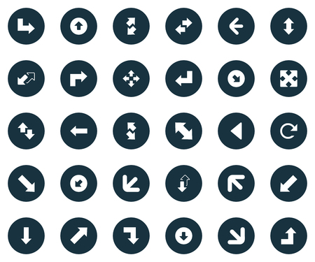 Elements Falling, Decrease, Slanted And Other Synonyms Droping, Opposite And Down Right Pointing.  Vector Illustration Set Of Simple Arrows Icons.