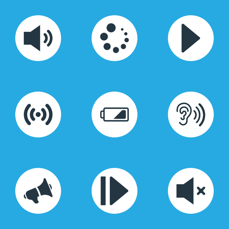 Elements Silent, Hearing, Charge And Other Synonyms Hearing, Radio And Audio.  Vector Illustration Set Of Simple Audio Icons.