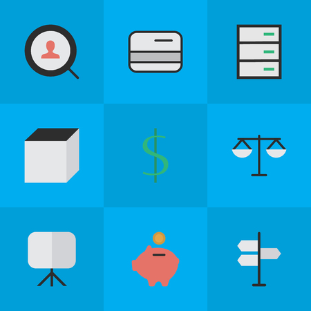 Elements Moneybox, Drawer, Direction And Other Synonyms Balance, Drawer And Signpost.  Vector Illustration Set Of Simple Job Icons. Illustration