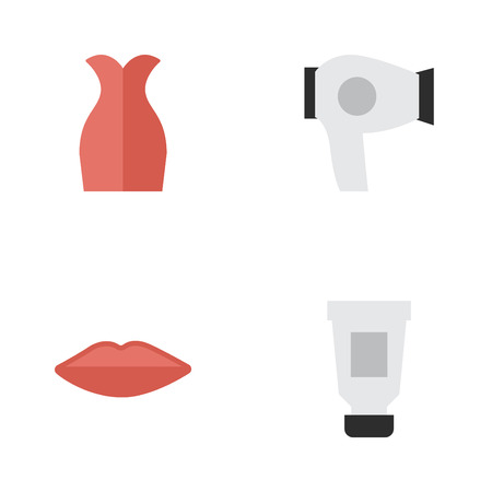 Elements Dress, Drying Machine, Toothpaste And Other Synonyms Toothpaste, Lips And Kiss.  Vector Illustration Set Of Simple Beauty Icons.