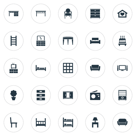 Elements Crib, Plant, Cupboard And Other Synonyms Three, Place And Kitchen.  Vector Illustration Set Of Simple Furniture Icons.