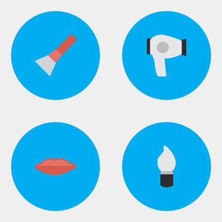 Elements Drying Machine, Scrub, Brush And Other Synonyms Drying, Lips And Lipstick.  Vector Illustration Set Of Simple Glamour Icons. Reklamní fotografie - 83228997