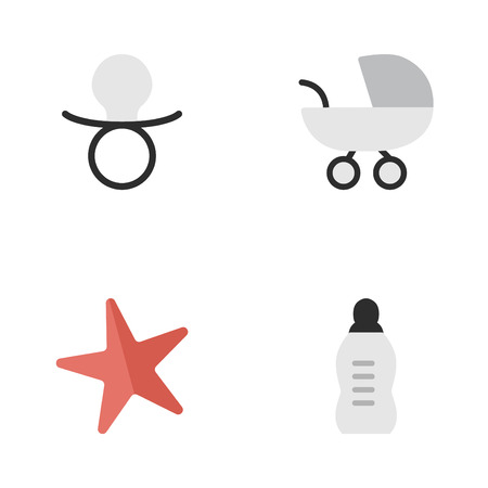 Elements Toy, Nipple, Stroller And Other Synonyms Starfish, Pacifier And Baby.  Vector Illustration Set Of Simple Kid Icons. Иллюстрация