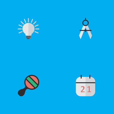 Elements Racket, Measurement Dividers, Date Block And Other Synonyms Ping, Dividers And Measurement.  Vector Illustration Set Of Simple Knowledge Icons. Ilustrace