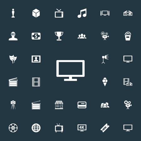 Elements Music Note, Cash, Action And Other Synonyms Clapper, 3D And Review.  Vector Illustration Set Of Simple Cinema Icons.