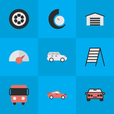 Elements Speedometer, Autobus, Stairs And Other Synonyms Circle, Chronometer And Delivery.  Vector Illustration Set Of Simple Traffic Icons. Illustration