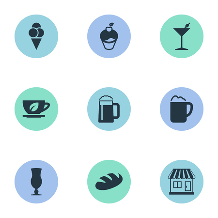 Elements Ale Pint, Bread, Pub And Other Synonyms Cone, Beverage And Cupcake.  Vector Illustration Set Of Simple Beverage Icons.