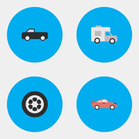 要素トラック、クーペ、バンおよび他の類義語のスポーツ クーペとバン。 簡単な出荷アイコンのベクター イラスト セット。