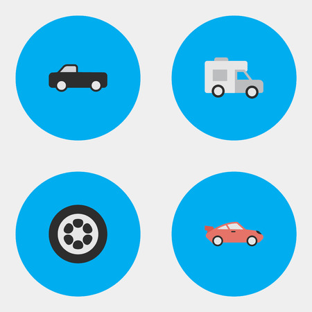 요소 트럭, 쿠페, 밴 및 기타 동의어 스포츠, 쿠페 및 밴. 벡터 일러스트 레이 션 간단한 배송 아이콘의 집합입니다.