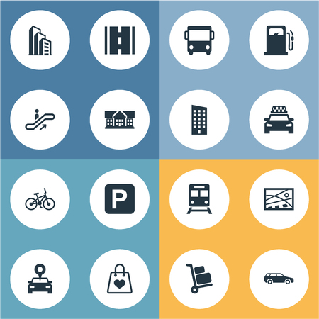Elements Autobus, Cab, Apartment And Other Synonyms Bag, Way And Train.  Vector Illustration Set Of Simple Urban Icons.