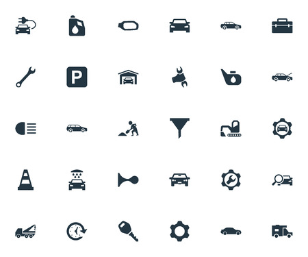 Elements Watch, Fuel, Toolbox And Other Synonyms Lock, Oil And Beam.  Vector Illustration Set Of Simple Car Icons. Illustration