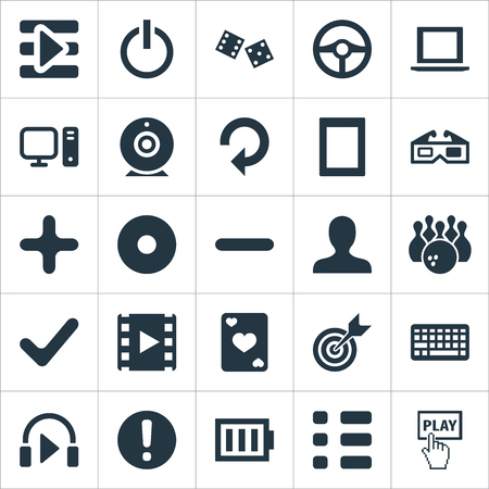 Elements Minus, Shut Down, Notebook And Other Synonyms Exclamation, Checklist And Reload.  Vector Illustration Set Of Simple Leisure Icons. Stock Vector - 83228973