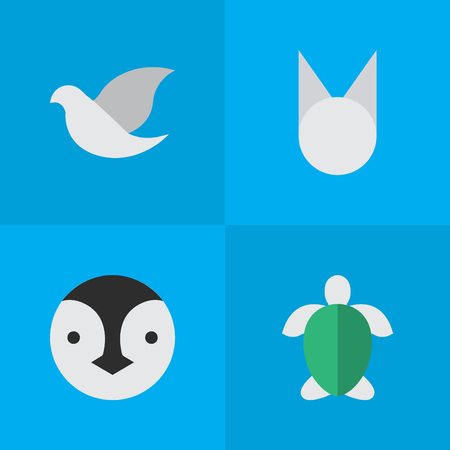 Elements Pigeon, Turtle, Flightless Bird And Other Synonyms Cat, Pigeon And Flightless.  Vector Illustration Set Of Simple Animals Icons. Illustration