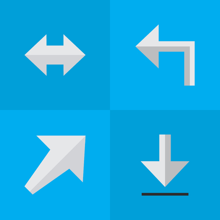 Elements Loading, Orientation, Everyway And Other Synonyms Everyway, Southwest And Southwestward.  Vector Illustration Set Of Simple Arrows Icons. Illustration